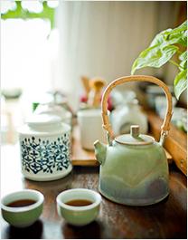绿陶瓷茶具